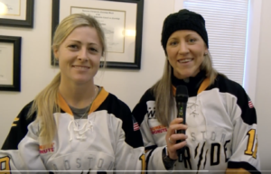 Click the photo to see an interview with Pride players Meghan Duggan and Gigi Marvin.